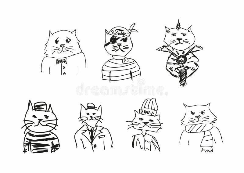 Σύνολο αστείων σκίτσων των γατών Μίμηση των σχεδίων των παιδιών Περιγραμματικός, κακογραφία r απεικόνιση αποθεμάτων
