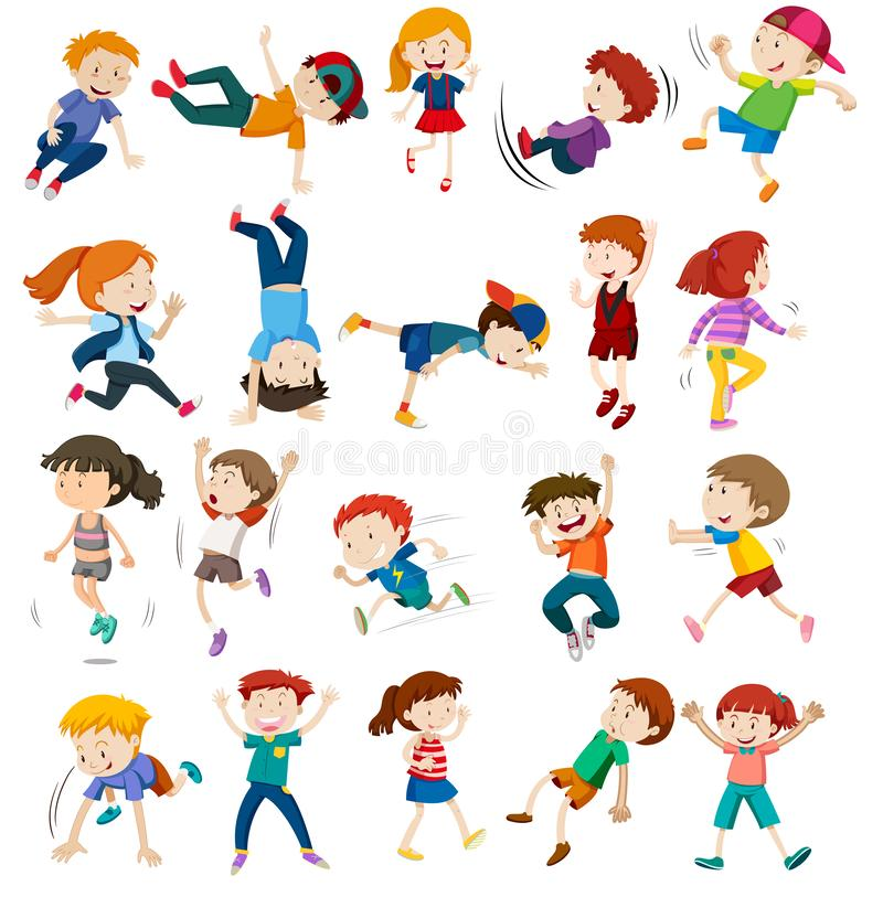 Σύνολο αστικού χαρακτήρα παιδιών διανυσματική απεικόνιση