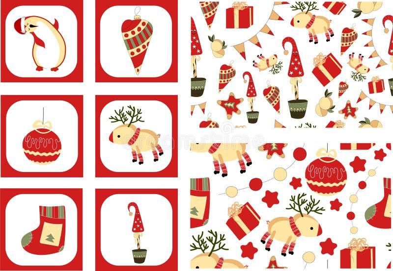 Σύνολο 6 αυτοκόλλητων ετικεττών και δύο άνευ ραφής σχεδίων Χριστουγέννων σε ένα άσπρο υπόβαθρο Έτοιμο εταιρικό ύφος για τη δράση  ελεύθερη απεικόνιση δικαιώματος
