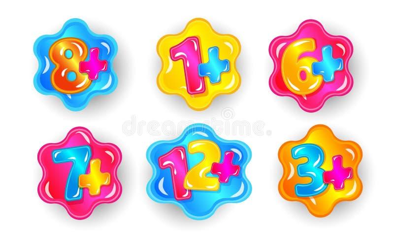 Σύνολο αυτοκόλλητων ετικεττών κινούμενων σχεδίων περιορισμού ηλικίας παιδιών, ζωηρόχρωμοι αριθμοί με το σημείο συν απεικόνιση αποθεμάτων
