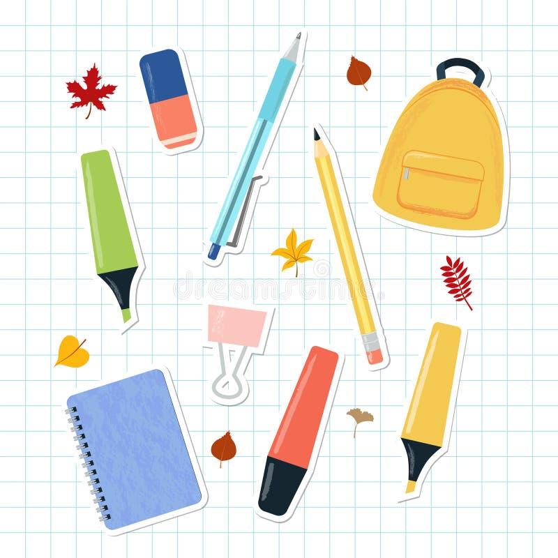 Σύνολο αυτοκόλλητων ετικεττών προμηθειών σχολείων και μελέτης στην τακτοποιημένη σελίδα σημειωματάριων διανυσματική απεικόνιση