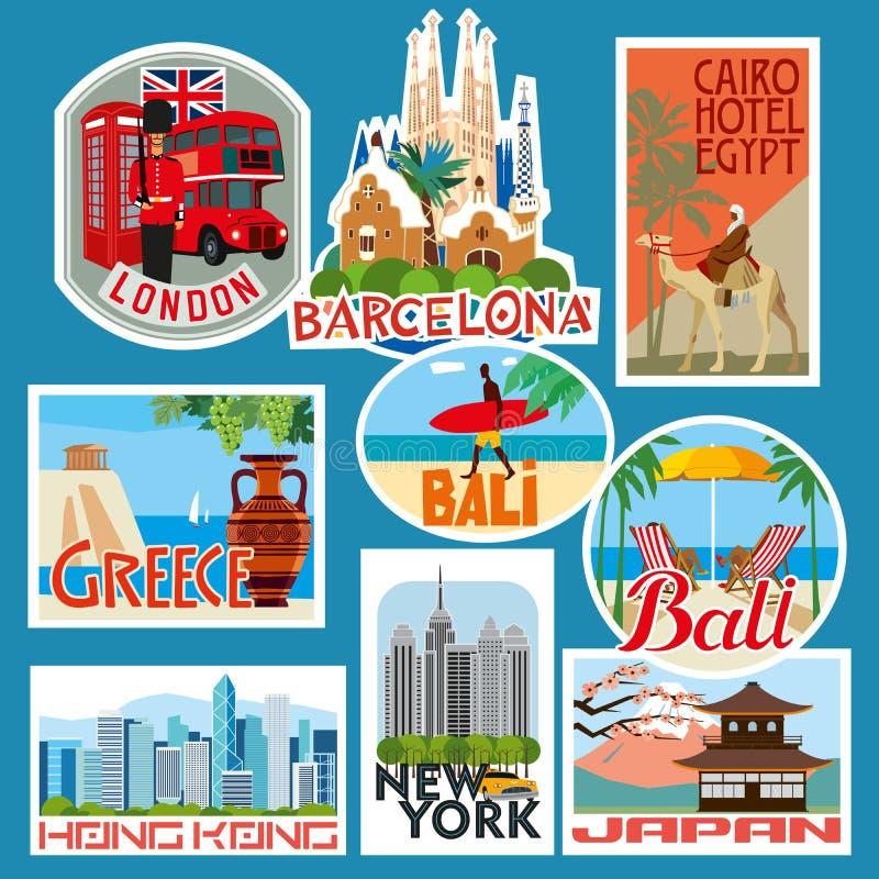 Σύνολο αυτοκόλλητων ετικεττών ταξιδιού Χώρες της Ασίας, της Ευρώπης και της Αφρικής απεικόνιση αποθεμάτων