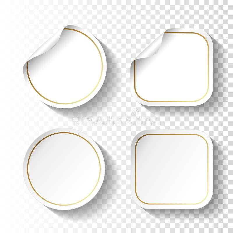 Σύνολο αυτοκόλλητων ετικεττών της Λευκής Βίβλου στο διαφανές υπόβαθρο Κύκλος και τετραγωνικές ετικέτες, κουμπιά απεικόνιση αποθεμάτων