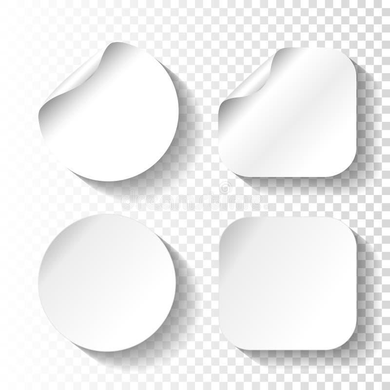 Σύνολο αυτοκόλλητων ετικεττών της Λευκής Βίβλου στο διαφανές υπόβαθρο Κύκλος και τετραγωνικές ετικέτες, κουμπιά διανυσματική απεικόνιση