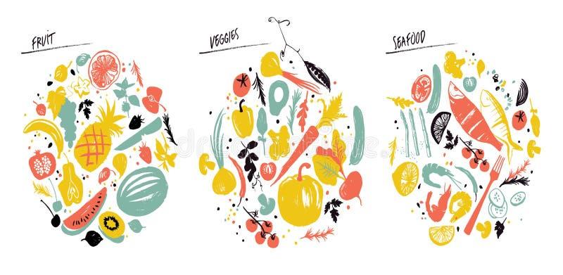 Σύνολο αυτοκόλλητων ετικεττών τροφίμων: θαλασσινά, λαχανικά και φρούτα Υγιής κατανάλωση τρόπου ζωής Αγορά αγροτών απεικόνιση αποθεμάτων