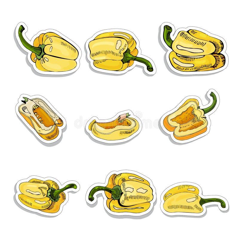 Σύνολο αυτοκόλλητων ετικεττών των κίτρινων συρμένων χέρι γλυκών πιπεριών Μελάνι και χρωματισμένο σκίτσο στο άσπρο υπόβαθρο Ολόκλη ελεύθερη απεικόνιση δικαιώματος