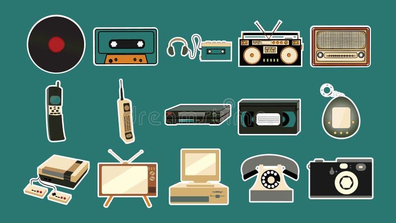 Σύνολο αυτοκόλλητων ετικεττών των παλαιών αναδρομικών εκλεκτής ποιότητας παλαιών κινητών τηλεφώνων hipster, TV, ακουστικό όργανο  απεικόνιση αποθεμάτων