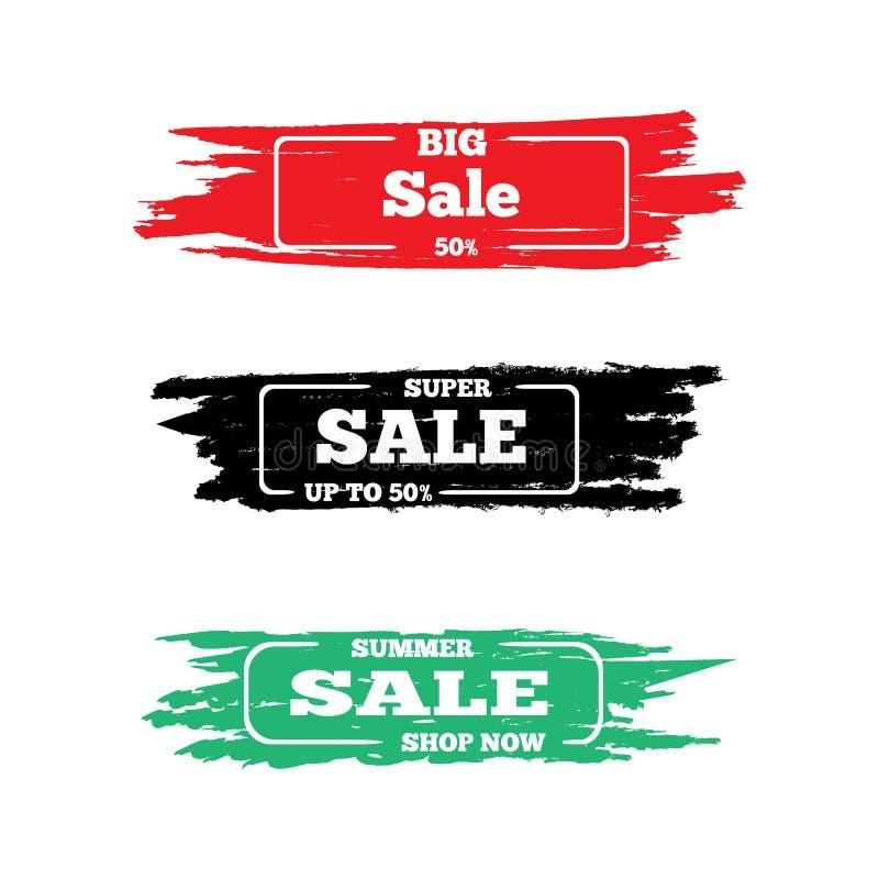 Σύνολο αυτοκόλλητων ετικεττών grunge για την πώληση Γκράφιτι, χρώμα, watercolor Συλλογή του σχεδίου διαφήμισης r ελεύθερη απεικόνιση δικαιώματος