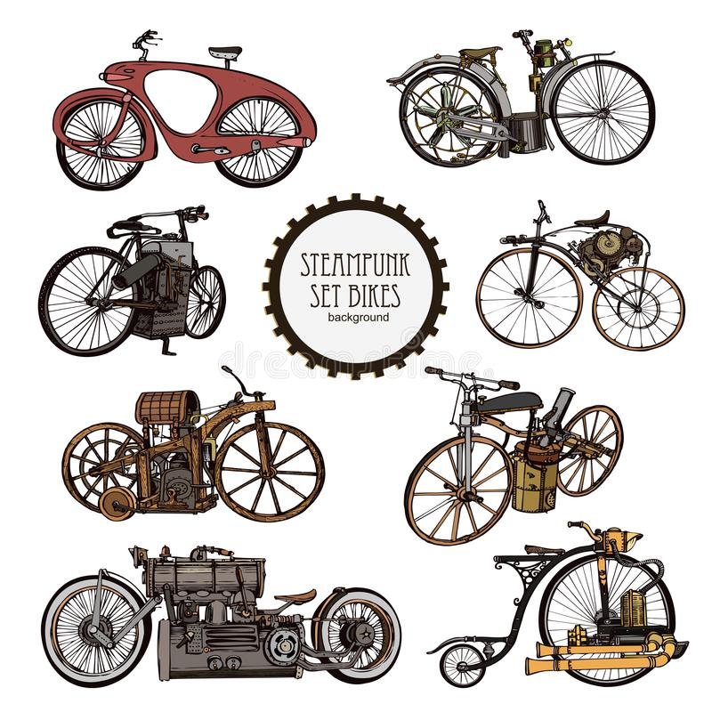 Σύνολο αυτοκόλλητων ετικεττών Steampunk Σύνολο εκλεκτής ποιότητας ποδηλάτου ατμού Ύφος Steampunk - διάνυσμα διανυσματική απεικόνιση