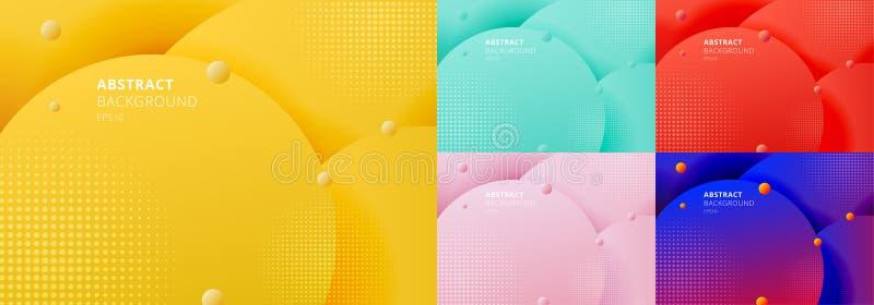Σύνολο αφηρημένης τρισδιάστατης υγρής ρευστής κίτρινης μουστάρδας κύκλων, πράσινη μέντα, κόκκινο, μπλε όμορφο υπόβαθρο χρώματος μ διανυσματική απεικόνιση