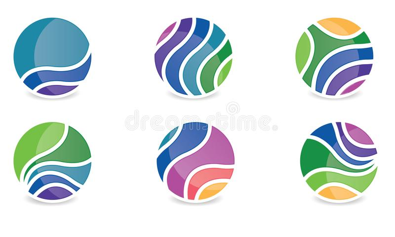 Σύνολο αφηρημένου σφαιρών στρογγυλευμένου λογότυπο Globle κυκλικού λογότυπων Template διανύσματος συμβόλων Modern Company λογότυπ ελεύθερη απεικόνιση δικαιώματος