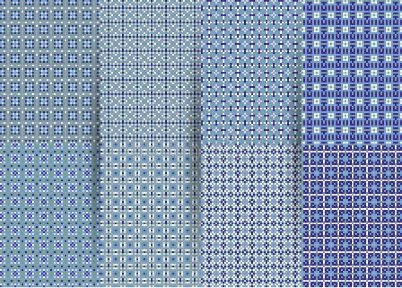 Σύνολο 6 αφηρημένων άνευ ραφής ελεγμένων γεωμετρικών σχεδίων Διανυσματικό μπλε γεωμετρικό ackground για τα υφάσματα, τυπωμένες ύλ διανυσματική απεικόνιση