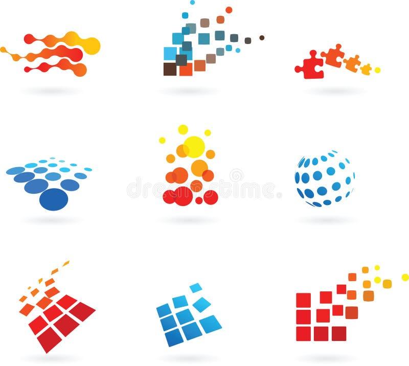 Σύνολο αφηρημένων διανυσματικών εικονιδίων διανυσματική απεικόνιση