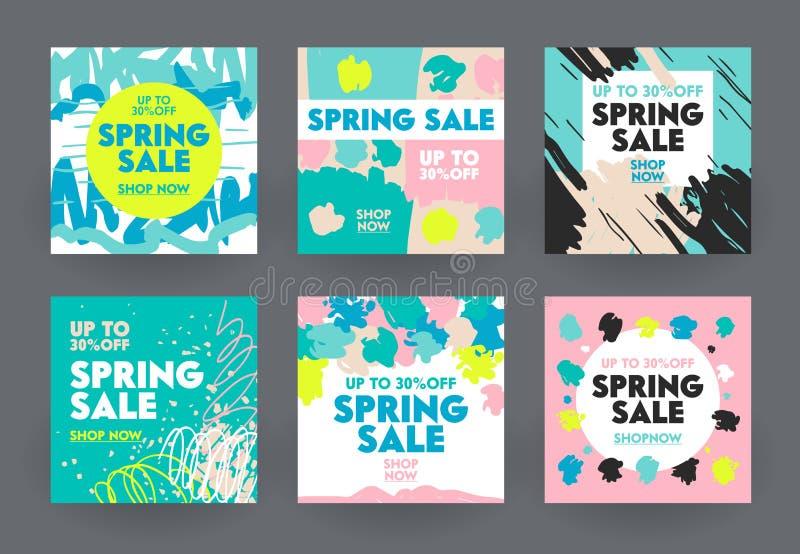 Σύνολο αφηρημένων εμβλημάτων για το κοινωνικό μάρκετινγκ μέσων Προσφορά πώλησης άνοιξη για το κατάστημα ή Discounter, αφίσες αγορ διανυσματική απεικόνιση