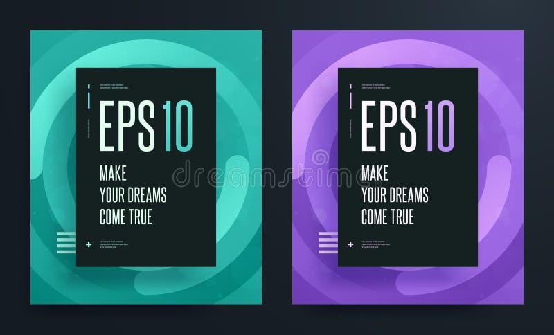 Σύνολο αφηρημένων ζωηρόχρωμων αφισών με το φωτεινό καθαρό χρώμα υποβάθρου EPS 10 απεικόνιση ελεύθερη απεικόνιση δικαιώματος