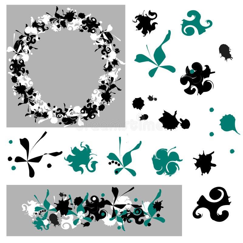 Σύνολο αφηρημένων στοιχείων Μαύροι και πράσινοι λεκέδες σε ένα άσπρο υπόβαθρο Διανυσματικά βούρτσα και στεφάνι ελεύθερη απεικόνιση δικαιώματος