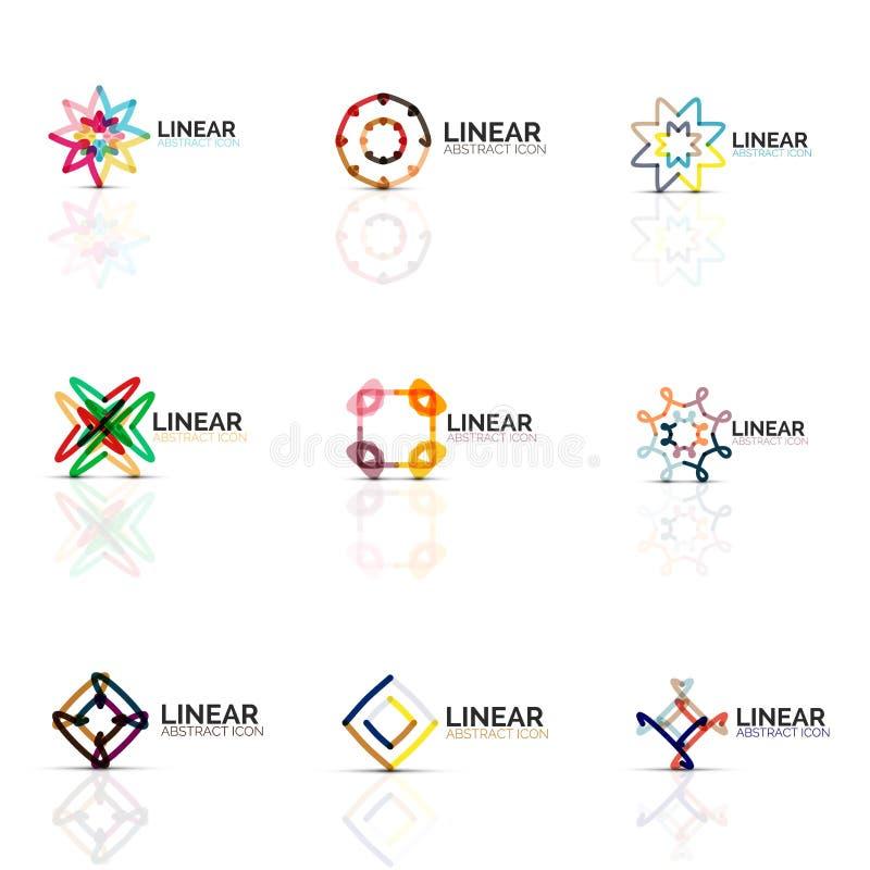 Σύνολο αφηρημένων minimalistic γραμμικών εικονιδίων λουλουδιών ή αστεριών, λεπτά γεωμετρικά επίπεδα σύμβολα γραμμών για το σχέδιο ελεύθερη απεικόνιση δικαιώματος