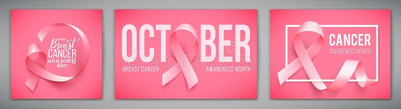 Σύνολο αφισών με για το μήνα συνειδητοποίησης καρκίνου του μαστού τον Οκτώβριο Ρεαλιστικό ρόδινο σύμβολο κορδελλών επίσης corel σ ελεύθερη απεικόνιση δικαιώματος