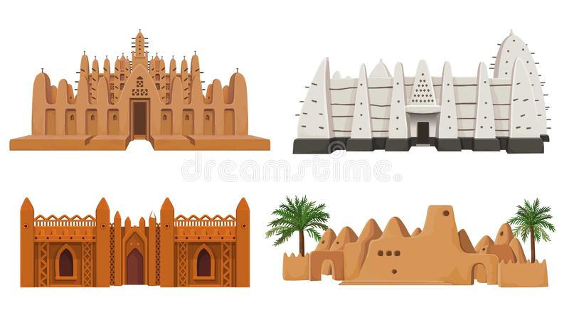 Σύνολο αφρικανικής αρχιτεκτονικής κτηρίων απεικόνιση αποθεμάτων