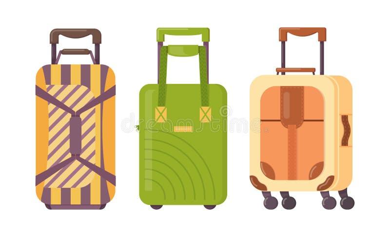Σύνολο βαλιτσών πλαστικού, μετάλλων και δέρματος, περιπτώσεις αποσκευών απεικόνιση αποθεμάτων