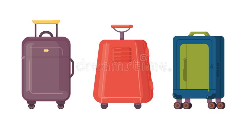 Σύνολο βαλιτσών πλαστικού, μετάλλων και δέρματος, περιπτώσεις αποσκευών διανυσματική απεικόνιση