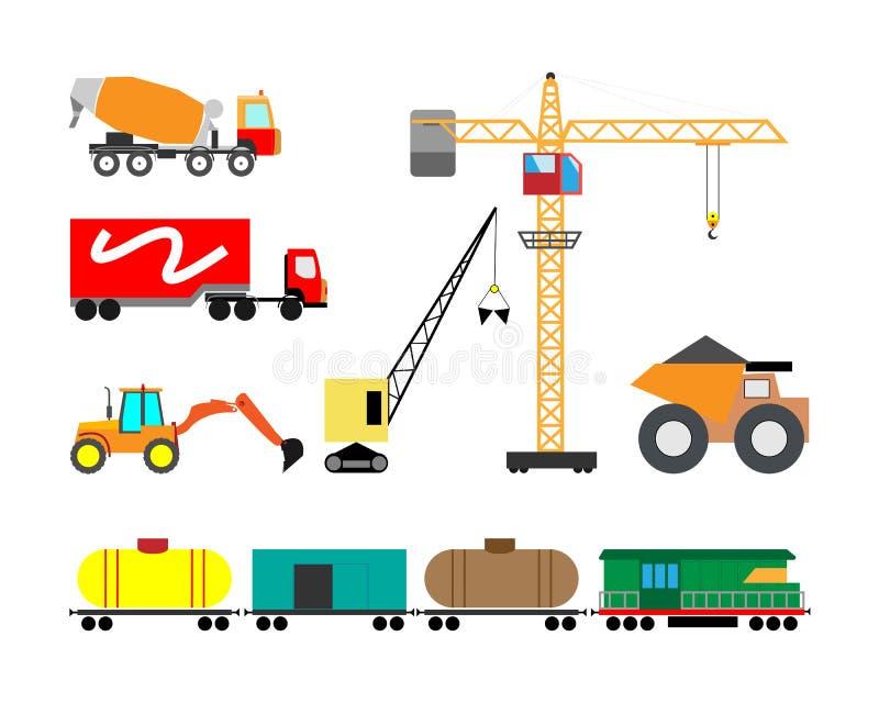 Σύνολο βαριών εικονιδίων μηχανών κατασκευής Διανυσματική απεικόνιση του βαριών εξοπλισμού και των μηχανημάτων διανυσματική απεικόνιση