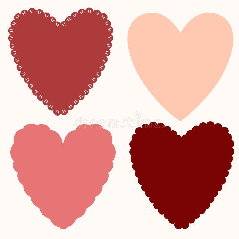 Σύνολο βασικών μορφών των καρδιών, για τις πετσέτες, κάρτες, πλαίσια για την ημέρα του βαλεντίνου απεικόνιση αποθεμάτων