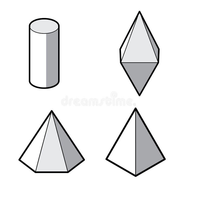 Σύνολο βασικών τρισδιάστατων γεωμετρικών μορφών Γεωμετρικό διάνυσμα στερεών που απομονώνεται σε ένα άσπρο υπόβαθρο ελεύθερη απεικόνιση δικαιώματος
