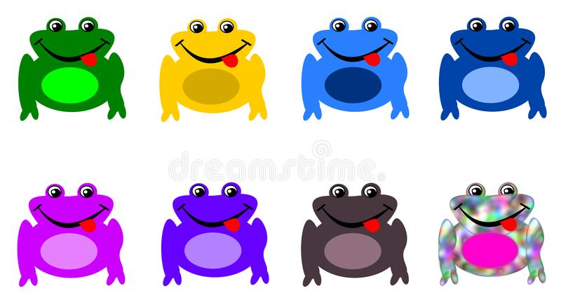 Σύνολο βατράχων στα διαφορετικά χρώματα - βάτραχος χαμαιλεόντων διανυσματική απεικόνιση