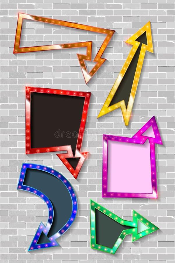 Σύνολο βελών χρώματος με τους λαμπτήρες βολβών ελεύθερη απεικόνιση δικαιώματος
