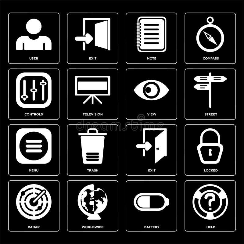 Σύνολο βοήθειας, μπαταρία, ραντάρ, έξοδος, επιλογές, άποψη, έλεγχοι, σημείωση, U απεικόνιση αποθεμάτων