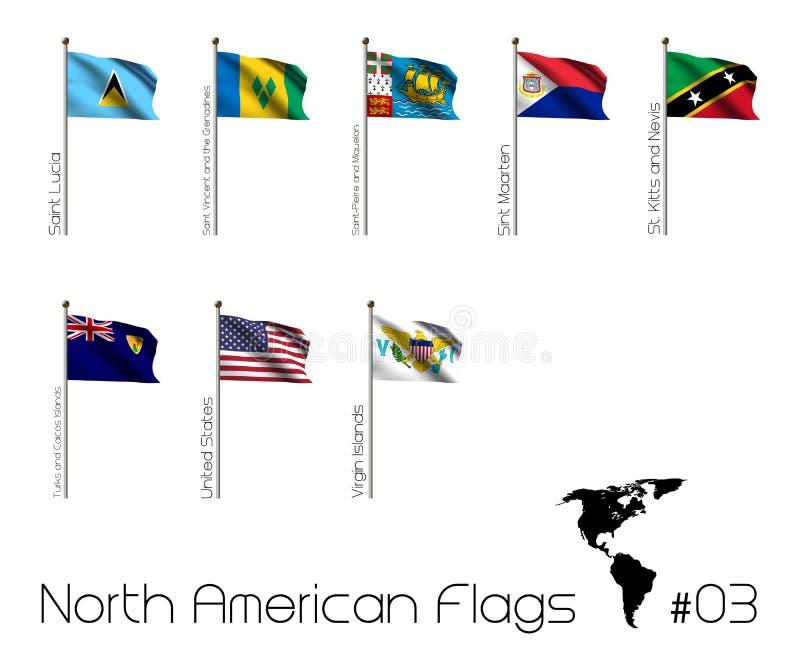 Σύνολο βορειοαμερικανικών σημαιών διανυσματική απεικόνιση
