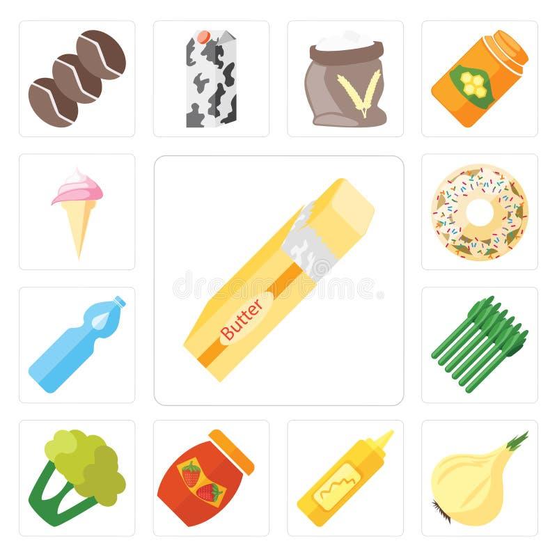Σύνολο βουτύρου, κρεμμύδι, μουστάρδα, μαρμελάδα, κουνουπίδι, σπαράγγι, Wate διανυσματική απεικόνιση