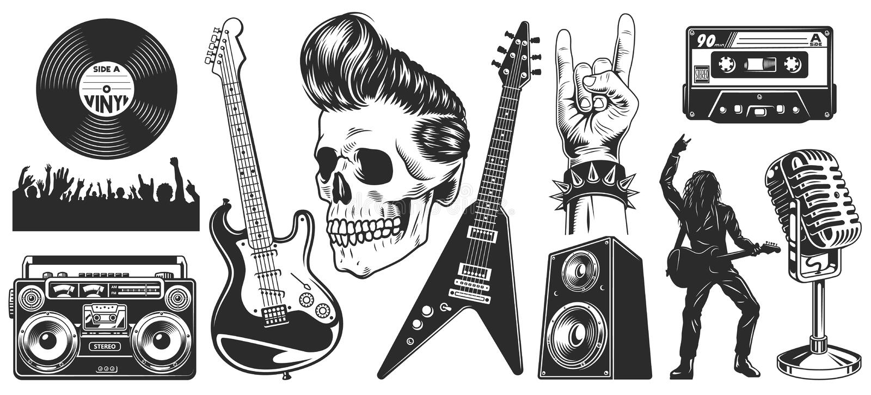 Σύνολο βράχου - και - εμβλήματα μουσικής ρόλων ελεύθερη απεικόνιση δικαιώματος