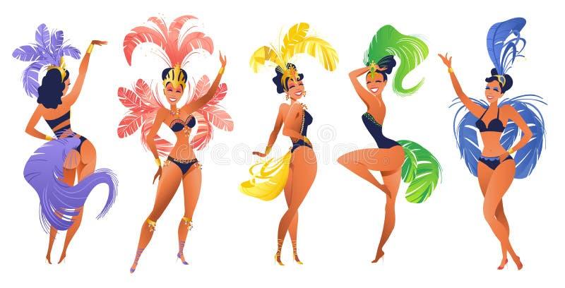 Σύνολο βραζιλιάνων χορευτών samba Διανυσματικό καρναβάλι στα κορίτσια Ρίο ντε Τζανέιρο που φορούν ένα κοστούμι φεστιβάλ χορεύει διανυσματική απεικόνιση