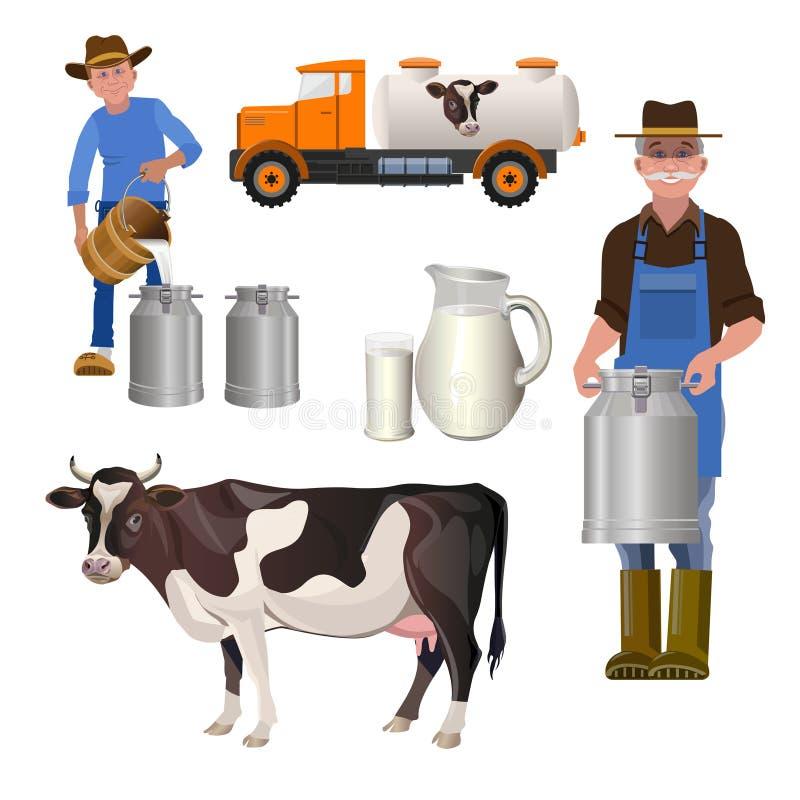 Σύνολο γαλακτοκομικών αγροκτημάτων απεικόνιση αποθεμάτων