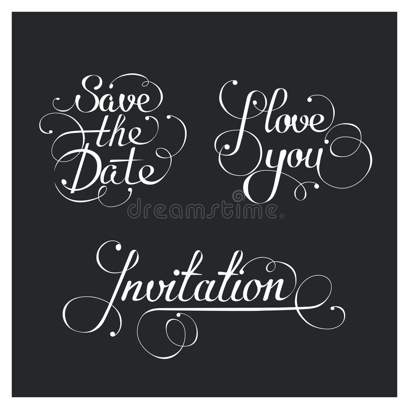 Σύνολο γαμήλιας καλλιγραφικής εγγραφής, διανυσματικά στοιχεία σχεδίου διανυσματική απεικόνιση