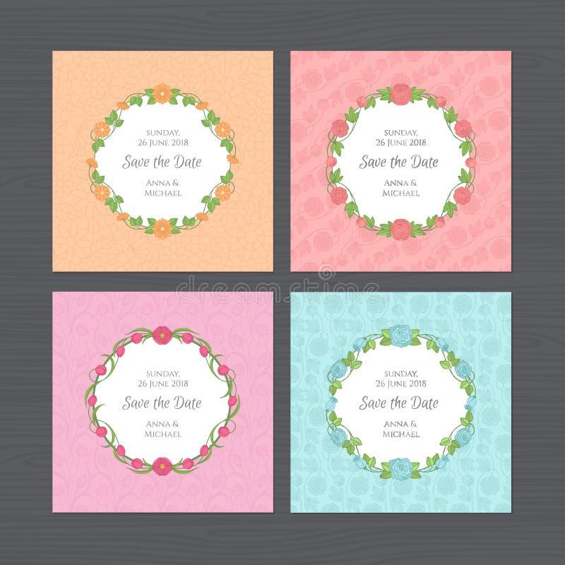 Σύνολο γαμήλιας πρόσκλησης Ευχετήρια κάρτα με το στρογγυλό πλαίσιο λουλουδιών W ελεύθερη απεικόνιση δικαιώματος