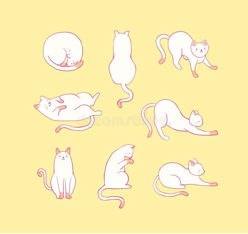 Σύνολο γατών Καλλωπισμός κατοικίδιων ζώων ή κτηνιατρικό εικονίδιο Αστείο γατάκι απεικόνιση αποθεμάτων
