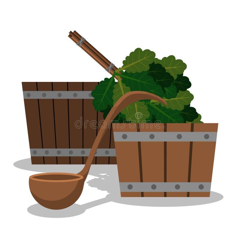 Σύνολο για μια σάουνα από δύο ξύλινες σκάφες μια σέσουλα για το νερό και μια σκούπα από τους δρύινους κλάδους διανυσματική απεικόνιση