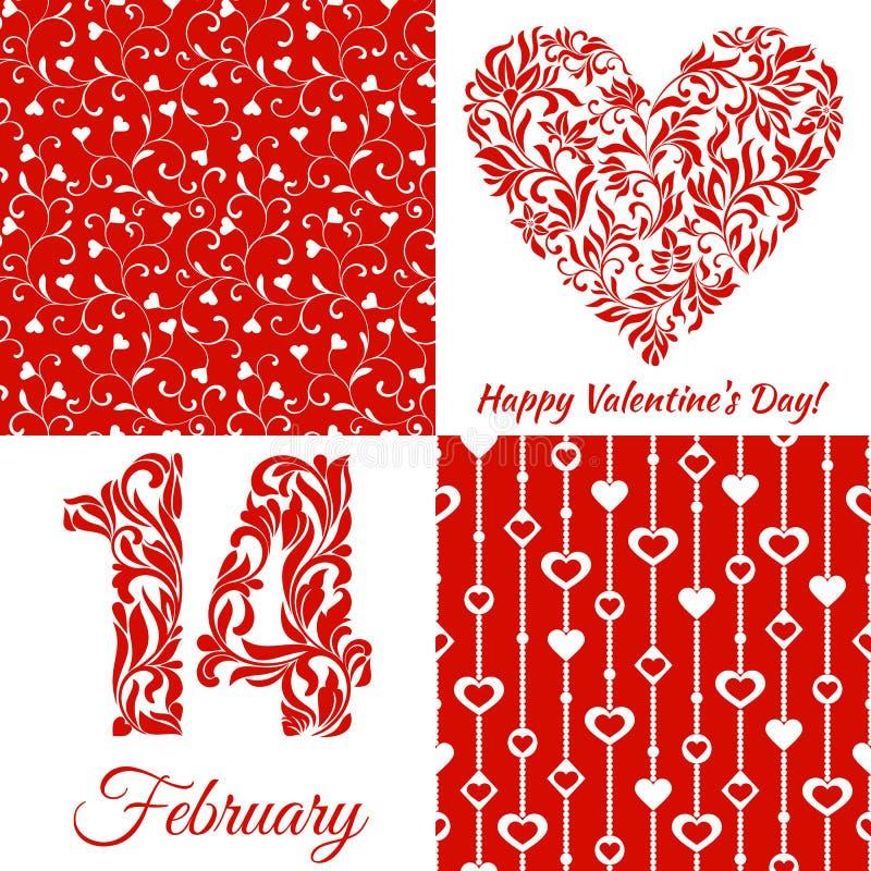 Σύνολο για την ημέρα βαλεντίνων: Τα σχήματα 14 και καρδιά από μια floral διακόσμηση, άνευ ραφής σχέδιο με τις καρδιές σε ένα κόκκ ελεύθερη απεικόνιση δικαιώματος