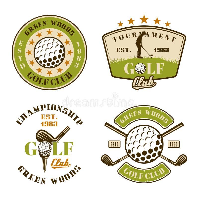 Σύνολο γκολφ κλαμπ διανυσματικών εμβλημάτων, διακριτικά, ετικέτες διανυσματική απεικόνιση