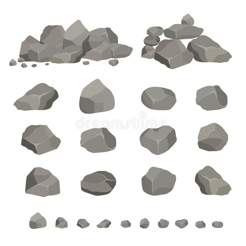 Σύνολο γκρίζων πετρών γρανίτη των διαφορετικών μορφών Στοιχείο της φύσης, βουνά, βράχοι, σπηλιές Μεταλλεύματα, λίθος και cobble διανυσματική απεικόνιση
