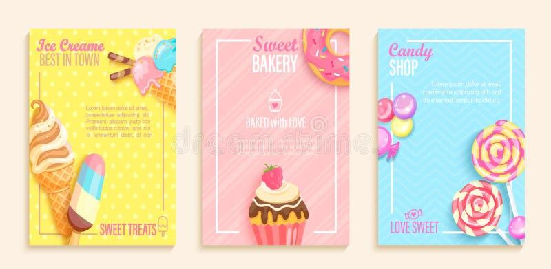 Σύνολο γλυκού, καραμέλα, αρτοποιείο, ιπτάμενα καταστημάτων παγωτού απεικόνιση αποθεμάτων