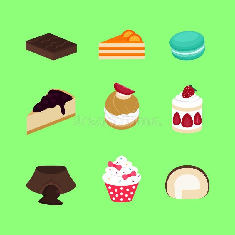 Σύνολο γλυκών διανύσματος και εικονιδίου επιδορπίων αρτοποιείων κέικ ελεύθερη απεικόνιση δικαιώματος