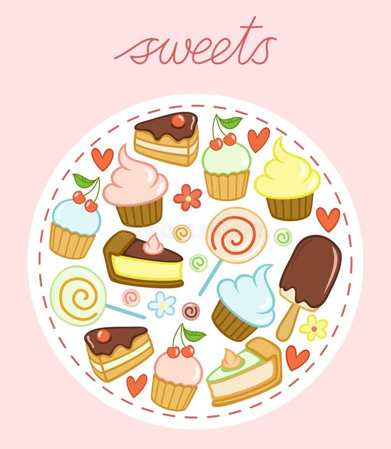 Σύνολο γλυκών με τα κέικ, cupcakes, lollipops, το παγωτό, τις καρδιές και τα λουλούδια απεικόνιση αποθεμάτων