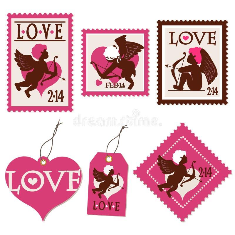 Σύνολο γραμματοσήμων και ετικεττών ημέρας του βαλεντίνου cupid διανυσματική απεικόνιση