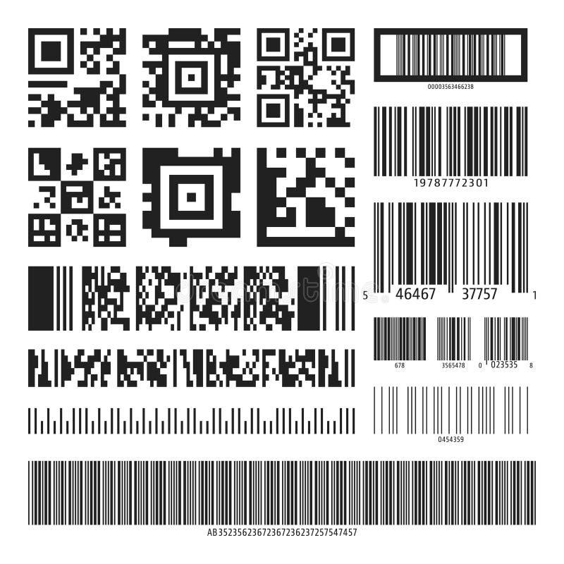 Σύνολο γραμμωτών κωδίκων και κώδικα QR διανυσματική απεικόνιση
