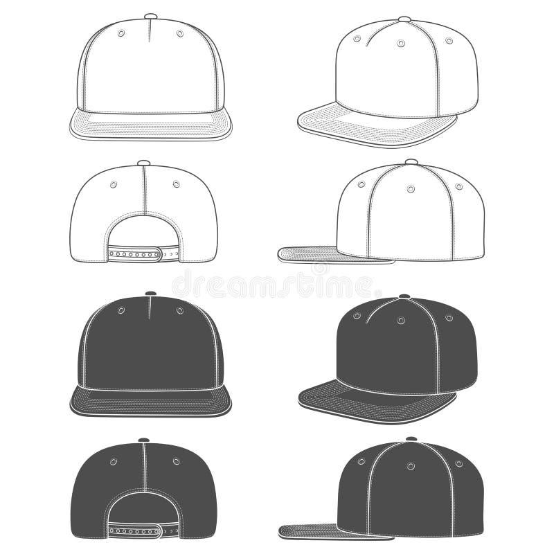 Σύνολο γραπτής απεικόνισης ενός snapback, βιαστής ΚΑΠ με ένα επίπεδο γείσο Απομονωμένα αντικείμενα διανυσματική απεικόνιση