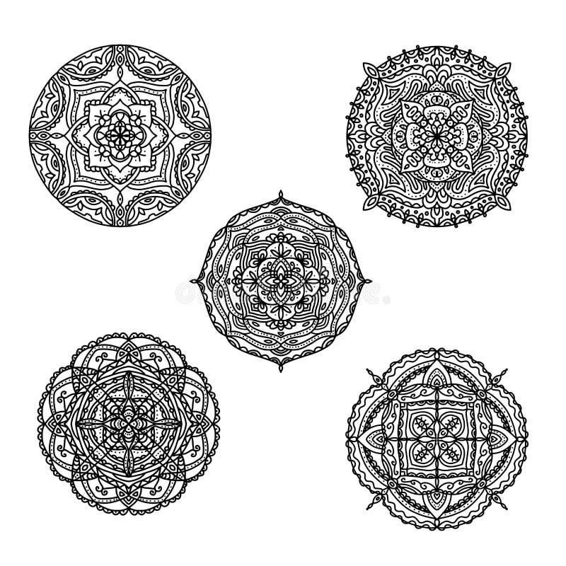 Σύνολο γραπτών mandalas για το χρωματισμό του βιβλίου Διακοσμητικές στρογγυλές διακοσμήσεις Αντιαγχωτικά σχέδια θεραπείας Στοιχεί διανυσματική απεικόνιση